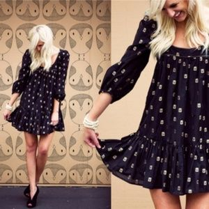 French Connection Gold Owl Pleat BabyDoll Dress#30